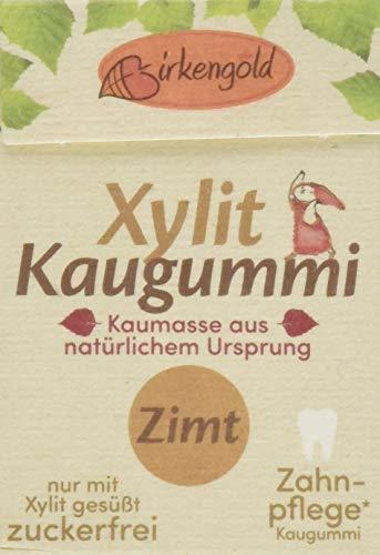 Birkengold Natur Xylit Kaugummi Zimt | 12er Pack | Natürliche Kaumasse aus dem Saft des Sapotillbaums und Candelillawachs | Zahnpflegend | zuckerfrei | Min. 70 % Xylit