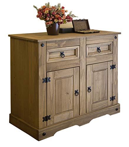 SAM Comò Santa Fe, mobile stile messicano, cassettiera in legno massello di pino cerato, due cassetti e due sportelli, mobile per sala da pranzo