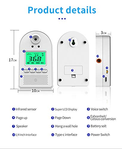 Wall-Mounted Thermometer for Adults, Non Contact Thermometer, in Door Body Digital Thermometer Hand Free Forehead Thermometer for Offices, Factories, Shops, Schools, Restaurants 8 EASY TO USE: The forehead thermometer accurately measures a person?s body temperature in as little as one second. A reading is taken as soon as an individual?s forehead is detected within 2-4 inches of the thermometer?s sensor. A green light will indicate that their temperature is within a normal range, and a flashing red light. NON-CONTACT HAND FREE MEASURING:: Using a new chip, the induction time is faster, the induction time is 0.1 s; the temperature measurement accuracy is high, and the accuracy tolerance is ±0.18°F. The test temperature passing rate per minute is greatly improved. Can detect 50 people in 1 minute at the fastest. EASY INSTALLATION: Our Wall Mounted Infrared Thermometer is very easy to mount on the wall using nails, hooks, double-sided adhesive tape, or brackets, and can be connected to a wall charger, power bank, or any other portable power source.