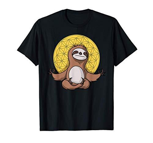 Faultier Zen Yoga Meditation Namaste Blume des Lebens Buddha T-Shirt