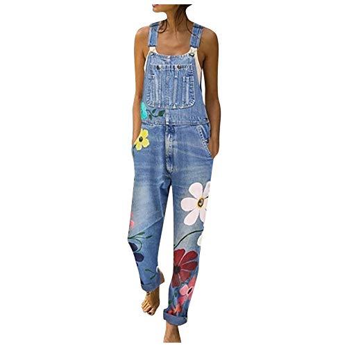 Damen Jeanshose Slim Fit Blau Latzhosen Elegant Casual Denim Fraizeithose Overall