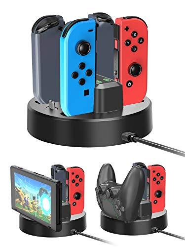 BlueFire Joy-Con Ladestation Ladegerät Dockingstation für Nintendo Switch Joy Con Controller [Upgraded Version] 5 in 1 mit LED-Anzeige Typ C Ladekabel