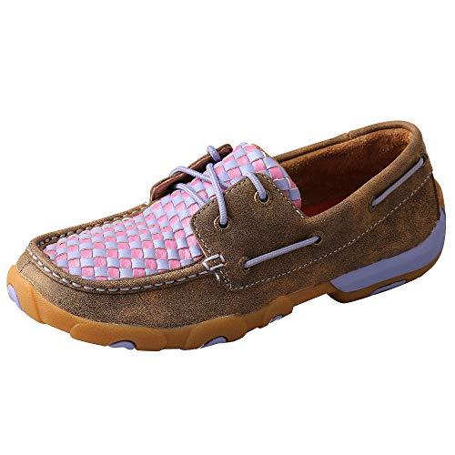 Twisted X Women's Boat Shoe Driving Moc, Bomber/Woven Purple, 11(M)