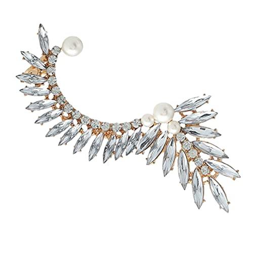 Holibanna Trepadores de Hoja de Cristal Oruga de Diamantes de Imitación Chaqueta Chic Humble Pendientes Gemelos Joyería para Mujeres Niñas