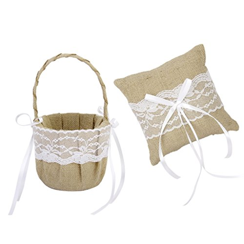 Jili Online Vintage Shabby Chic Burlap Lace Flower Basket + Ring Bearer Pillow with Burlap Lace Decor Accessory