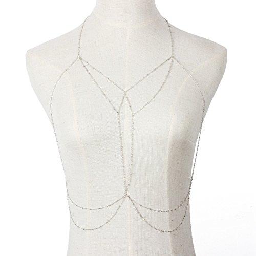 Sexy sujetador cadena del cuerpo, Tukistore borla de playa Crossover ajustable Bikini Moda cadena del vientre cadena collar de cadena para mujeres niñas