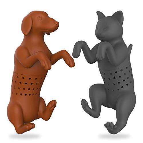 Teesieb 2er Pack - Katzen und Hunde Teeei für Tasse, Katzen süßer Teefilter für losen Tee, Hunde Teeei, Katzen Teebeutelhalter, Silikon-Teefilter in Lebensmittelqualität