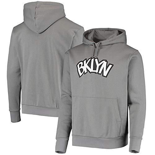 BMSD Pullover Hoodies Jersey Unisex Brooklyn Nets Gris Impreso Hombres NBA Ropa de Manga Larga, XXL