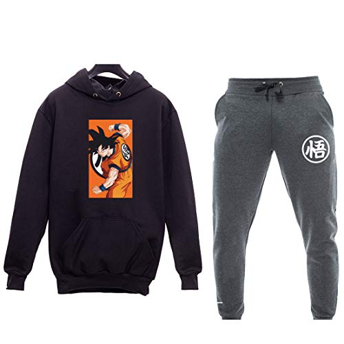 Kit Moletom Canguru Unissex Dragon Ball Goku + Calça Moletom Unissex Simbolo Dragon Ball (Preto-Chumbo, M)