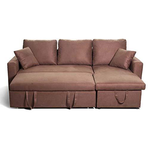 RJMOLU Lujoso sofá con Forma de l de Lujo en Forma de l Moderna Tela de Lino Convertible Sofá Cama, Sofá de loveseat con Cama de extracción para un Espacio pequeño,Marrón