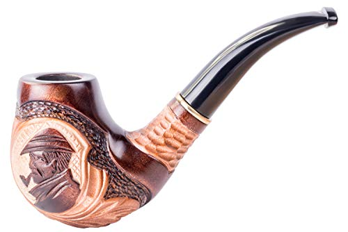 Dr. Watson - Pipa per tabacco, in legno, intagliata a mano, adatta per filtro da 9mm, viene fornita con sacchetto, in scatola (Sherlock Holmes)