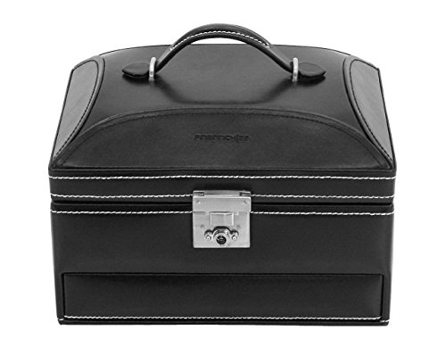 Friedrich|23, sieradenkoffer, leer, 22,4 x 16 x 14,8 cm, rechthoekig, afsluitbaar, met spiegel, Londen, zwart, 26104-2