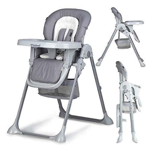 KIDWELL AMI Kinderhochstuhl mit Tablett | 107 cm hoch | höhenverstellbar mit 3 Positionen Rückenlehne | zusammenklappbar | zum Füttern | Belastung bis 15 kg | ab 3 bis 36 Monaten | Grau