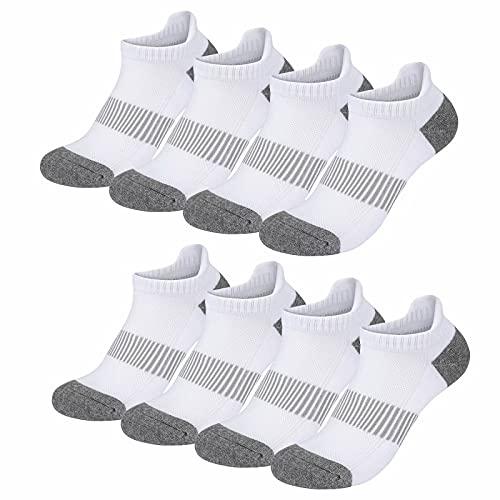 Falechay Kurze Socken Herren 43-46 Sportsocken 8 Paar Sneaker Socken Damen Baumwolle Atmungsaktive Laufsocken Unisex,Weiß 43-46