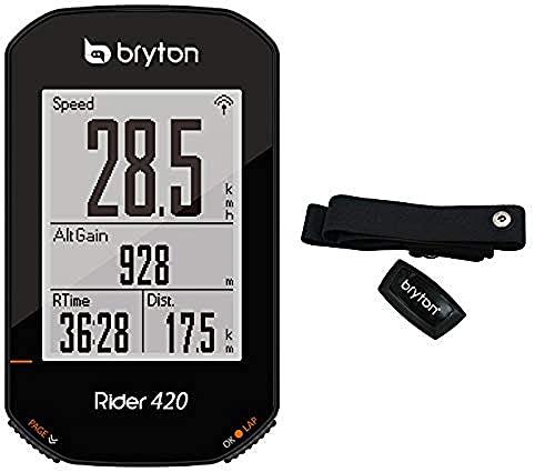 Bryton 420H Rider con Fascia Cardio, Unisex Adulto, Nero, 83.9x49.9x16.9