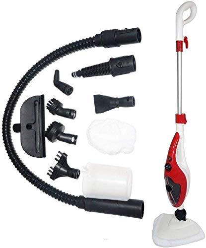 Aqua Steam Dampfmop Dampfbesen Dampfwischer Dampfreiniger Handdampfreiniger (Rot-Weiß)
