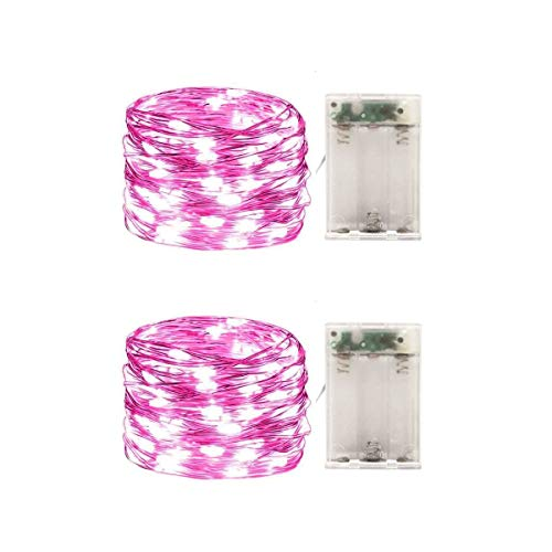 2 Pack Battery Operated Mini Led String Lights,Indoor Fairy Lights with Timer 6 Hours on/18 Hours Off for Christmas Lighting Decorations,30 Count LEDs,10 Feet Silver Wire (Pink Color)
