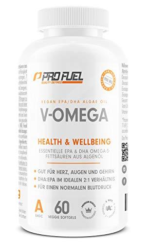 Vegane Omega-3 Fettsäuren aus Algenöl [1.100 mg] | hochdosiert - 300 EPA and 600 DHA | hochwertiges Omega 3 Öl in Kapseln (vegan) | mit Analysezertifikat: besser als Fischöl! V-OMEGA - 60 Kapseln