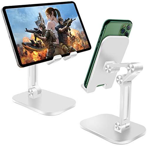 """HNOOM Soporte Tablet, Soporte Movil Mesa, Portátil Soporte Teléfono, Soporte Ajustable para Tablets para iPad Pro, iPhone, Samsung, Kindle y Otros 4-10.5"""" Dispositivos (Blanco)"""