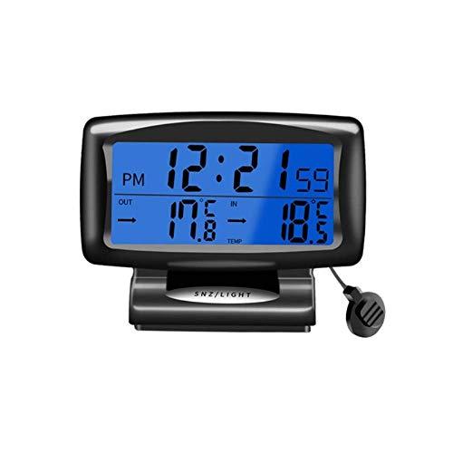 Reloj Digital Coche, Termómetro con Retroiluminación Coche Interior y Exterior Reloj Termómetro Digital 2 en 1 para Coche