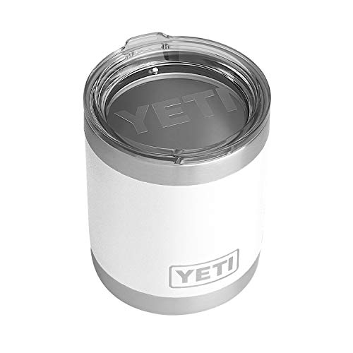 YETI Rambler 10 oz Lowball, Vacuum Insulated, Stainless Steel with Standard Lid, White