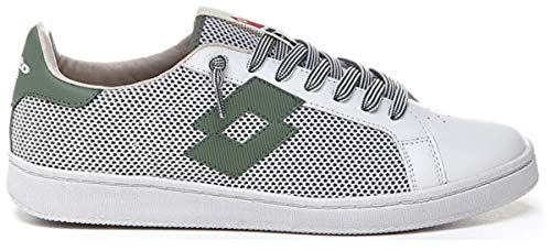 Lotto Leggenda, Uomo, Autograph Net all White Oil Green, Pelle, Sneakers, Bianco, 44