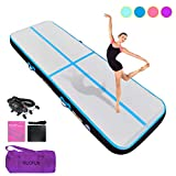 HIJOFUN Premium Air Track 10ftx3.3ftx8in Airtrack Gymnastics Tumbling Mat Inflatable Tumble Track with Electric Air Pump for Home Use/Gym/Yoga/Training/Cheerleading/Outdoor/Beach/Park Blue