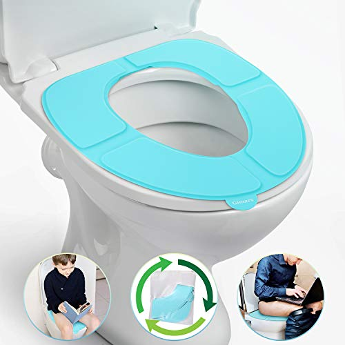 Gimars Newest Reusable Silicon Folding Public Adults Teens Travel Toilet Potty Seat Covers Protectors, Blue