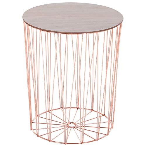 Lzcaure Mesa de centro con base de metal, tablero de densidad media, mesita de noche, color oro rosa, para sala de estar, cocina, dormitorio