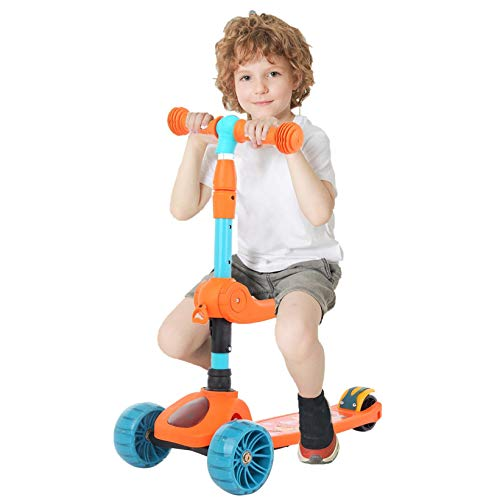 Music Light 3-Wheeled Scooter for Kids, Foldable Kick Scooter Adjustable Kick Scooter with Wheel LED Lights and Foldable Seat, Deliver in 3-7 Days (Orange)