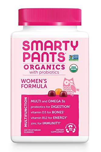 SmartyPants Organic Womens Multivitamin, Daily Gummy Vitamins: Biotin, Probiotics, Vitamin C, D3, B12, Omega 3, & Zinc for Immune Support, Energy, & Hair Skin & Nails, 120 Gummies, 30 Day Supply