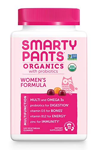 Daily Organic Gummy Womens Multivitamin: Probiotic, Vitamin C, D3 & Zinc for Immunity, Biotin, Omega 3, Selenium, B6, Methyl B12 by SmartyPants (120 Count, 30 Day Supply) Packaging May Vary