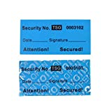 100pcs non trasferibile manomissione garanzia di sicurezza nullo etichette/adesivi/sigilli (blu, 1 x 5 cm, Unique Nos. - TamperSTOP)