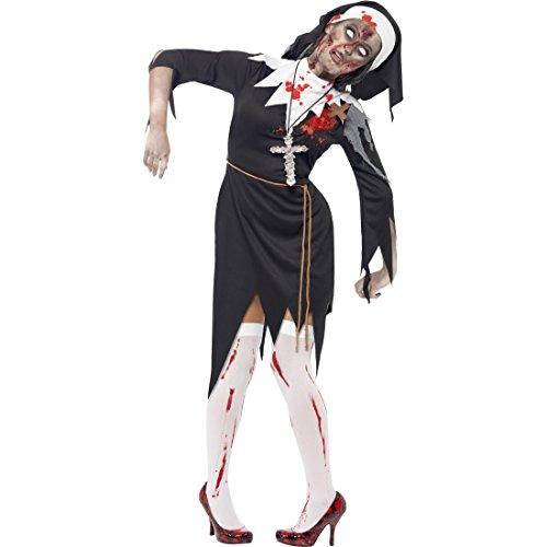 NET TOYS Nonnen Zombiekostüm Zombie Kostüm L 44/46 Kloster Nonnenkostüm Horror Nonne Halloweenkostüm Monster Faschingskostüm Halloween Horrorkostüm Karneval Kostüme Damen