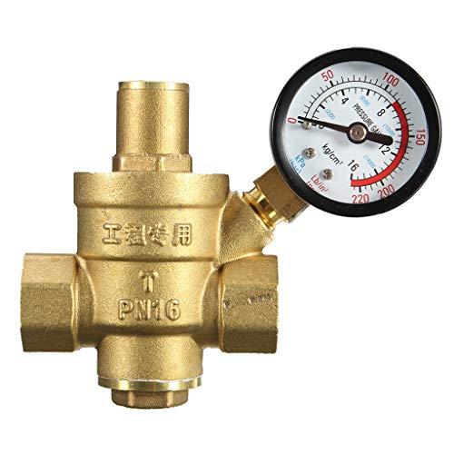 perfeclan Válvula de Presión de Agua Ajustable de Cobre Válvula de Presión de Agua del Grifo 8.3x6.4cm