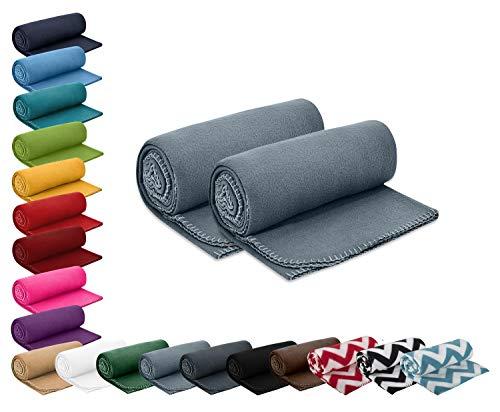 wometo 2er Set Polar- Fleecedecke 130x160 cm ca. 400g wertiges Gewicht mit Anti-Pilling Kettelrand Farbe grau in vielen bunten Farben