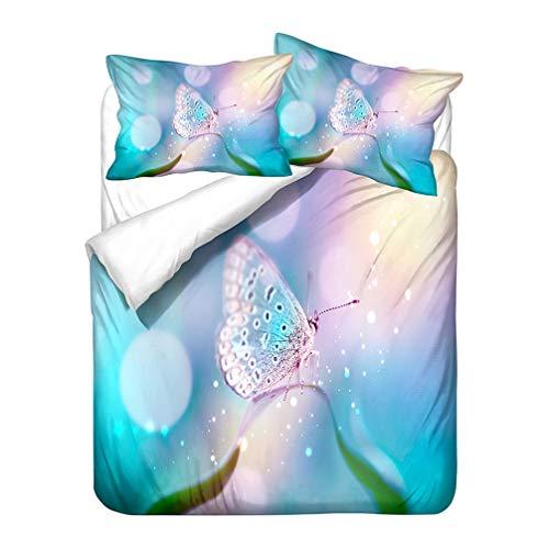 WENYA 3D Animal Butterfly Bedding set Star Moon Lotus Floral Dreamlike Vintage Elegant Duvet Cover and Pillowcase Girl Microfiber (Style 5,King 220x240 cm)