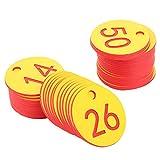 Fournyaa Etichetta con Numero di Azienda agricola a Lunga Durata in Materiale ABS di Alta qualità, Etichetta numerata, per l'allevamento di Animali da Apicoltura(Red, 1-50/bag)
