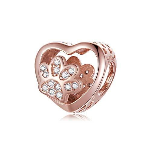 Abalorio de corazón compatible con pulseras Pandora, diseño de huellas de perro, amuletos de la suerte para mujer, pulsera chapada en oro plateado