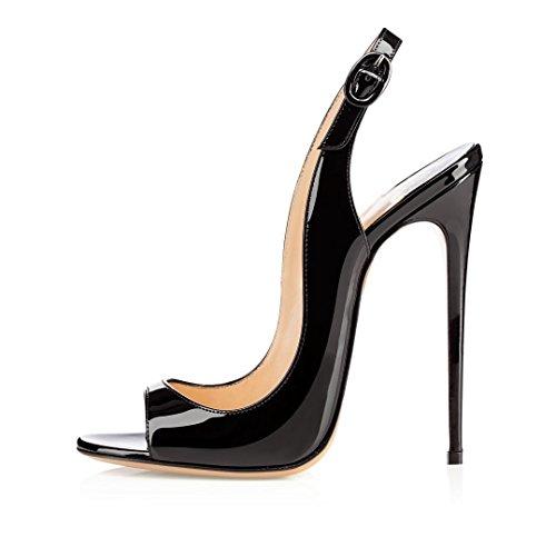 EDEFS Damenschuhe 120mm Peep Toe Slingback High Heels Sandalen mit Schnalle Öffnen Zehe Stiletto Schuhe Schwarz 42