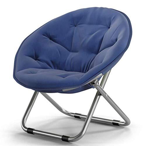 Yxxc Oxford Large Saucer Chair, Stuhl mit Metallrahmen Soft Moon Chair Freizeitstuhl für Holz Round Stoolds Adult Lounging Dorms Bodenstuhl Navy 52x51x76cm (20x20x30inch)