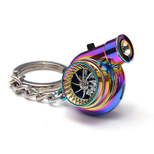 Boostnatics Rechargeable Electric Electronic Turbo Keychain with Sounds + LED! - Neochrome NEW Version 5 (V5)