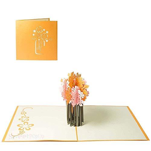 Blumen Pop Up Karte Glückwunsch Geburtstag Jahrestag Freundin Frau Mutter Danksagung Gute Besserung - Blumenvase 078