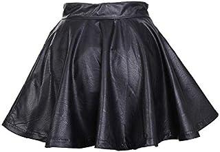 Women Lady Girl Leather Flared Short Pleated Skirt GG0117 Black Size M