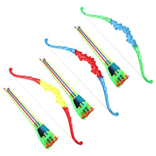 WOWOWO Arco de Juguete de Tiro con Arco de Deportes al Aire Libre con 4 Piezas de Flechas Suaves Actividad de Juego de Juguete para niños
