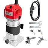 Wood Router,110V 800W 30000R/MIN Palm Router Electric Hand Trimmer Wood Router 1/4' Collets Woodworking Tool Laminate Trimmer (Red)
