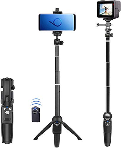 cheap Selfie stick, 40-inch expandable selfie stick tripod, phone tripod with wireless remote shutter Compatible with iPhone 12 11 Pro Xs Max Xr X 8Plus 7, Android, Samsung Galaxy S20 S10, Gopro, etc.
