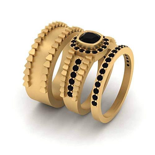 Juego de anillos de boda con halo de diamantes negros de talla cojín de oro amarillo Fn 925 de plata de ley a juego