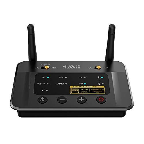 1Mii Receptor Transmisor Bluetooth 5.0 para TV Estéreo, Adaptador Audio Bluetooth HiFi con Audiophile ESS DAC& AptX HD / Baja Latencia, Largo Alcance, Salida/ Entrada óptica/ RCA/ AUX 3,5 mm