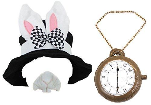 Kostüm-Zubehör-Set, Kaninchen von Alice im Wunderland, schwarzer Zylinder mit Kaninchenohren, riesige aufblasbare Uhr, Kaninchennase